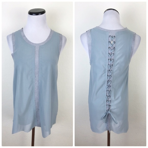 Vocal Tops - Vocal Sheer Lace Up Back Sleeveless Tank Top
